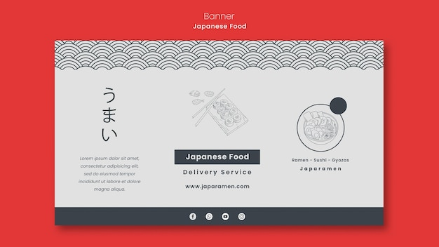 Poziomy Baner Dla Restauracji Japońskiej Darmowe Psd