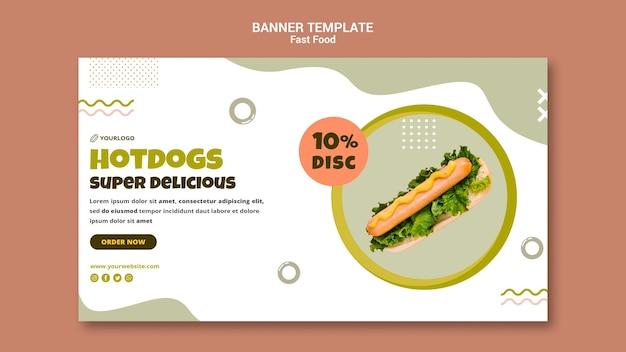 Poziomy Baner Do Restauracji Z Hot Dogami Darmowe Psd