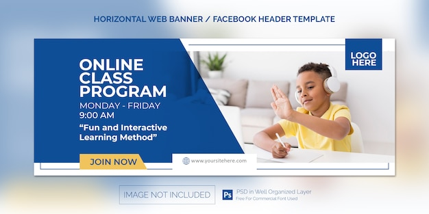 Poziomy Baner Internetowy Dla Promocji Programu Klasy Online Premium Psd