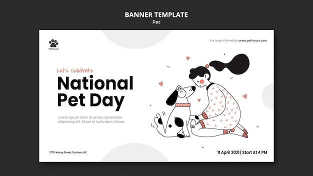 Poziomy Baner Na Narodowy Dzień Zwierzaka Z Właścicielką I Zwierzęciem Darmowe Psd