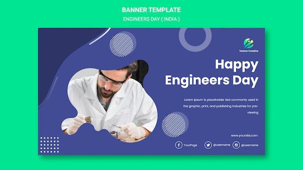 Poziomy Baner Na Obchody Dnia Inżynierów Darmowe Psd
