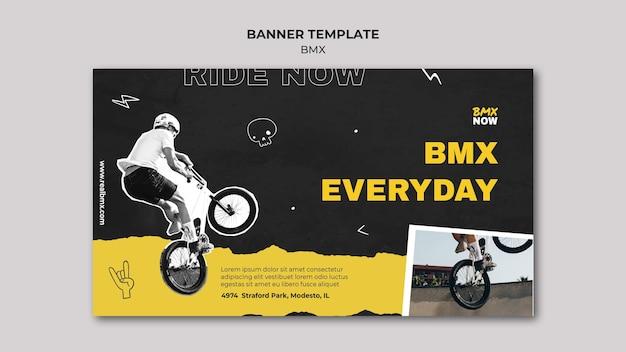 Poziomy Baner Na Rower Bmx Z Człowiekiem I Rowerem Darmowe Psd