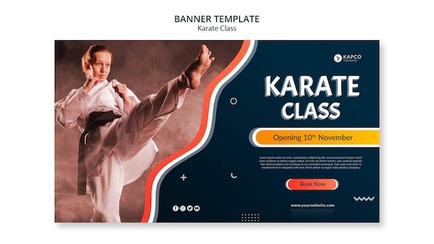 Poziomy Baner Szablon Dla Klasy Karate Kobiet Darmowe Psd