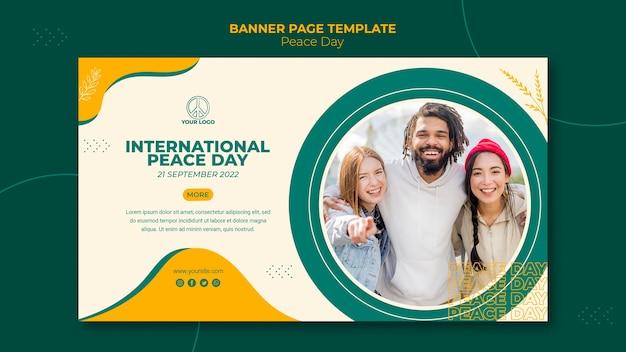 Poziomy Baner Szablon Na Międzynarodowy Dzień Pokoju Darmowe Psd
