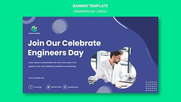 Poziomy Baner Szablon Na Obchody Dnia Inżynierów Darmowe Psd