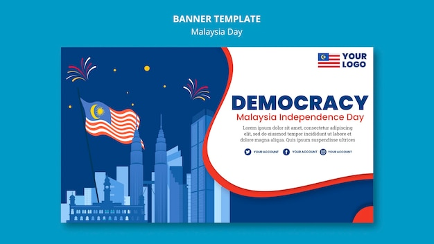 Poziomy Baner Szablon Na Obchody Rocznicy Dnia Malezji Darmowe Psd