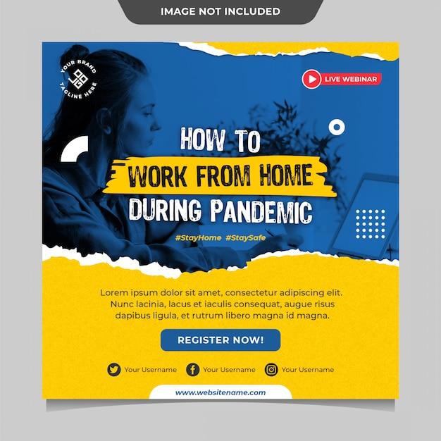 Pracuj Z Domu Podczas Pandemicznego Szablonu Publikacji W Mediach Społecznościowych Premium Psd