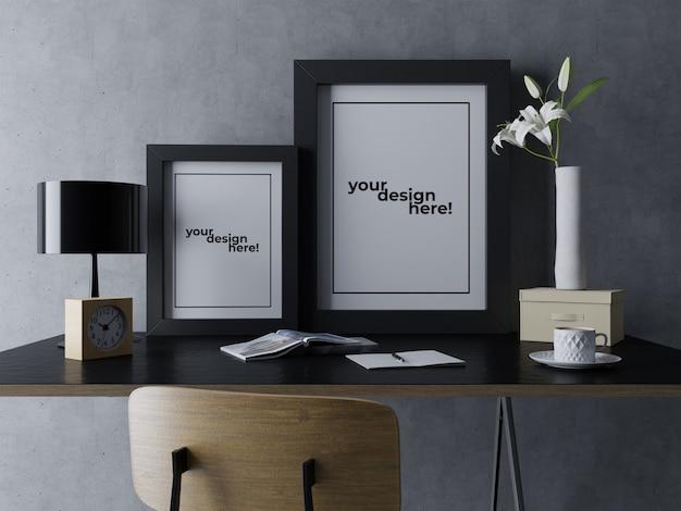 Premium Double Poster Frame Mock Up Design Szablony Siedzące Na Eleganckim Stole W Nowoczesnym Wnętrzu Miejsce Pracy Premium Psd