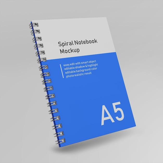 Premium single office twarda spirala binder pamiętnik notebook mock up szablon projektu pływające z przodu widok perspektywiczny Premium Psd