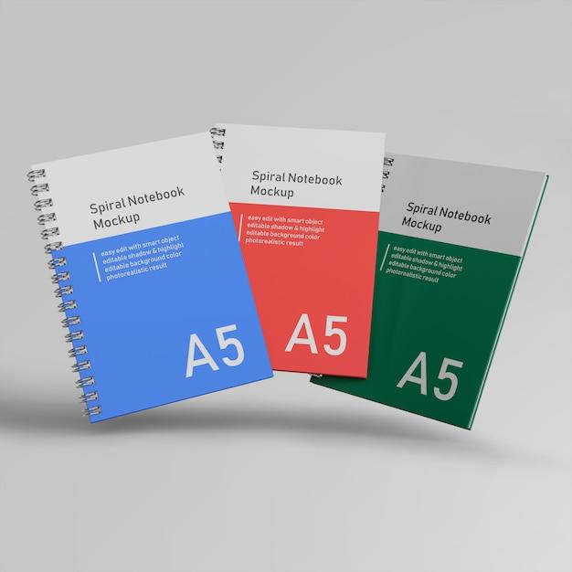 Premium trzy biuro twarda okładka spirali binder notebooka makiety szablony projektów latania z przodu widok Premium Psd