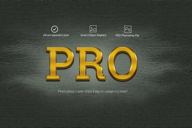 Pro gold efekty tekstowe 3d Premium Psd