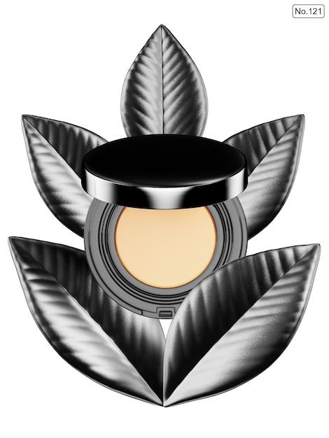 Produkt kosmetyczny i czarny liść na białym tle Premium Psd