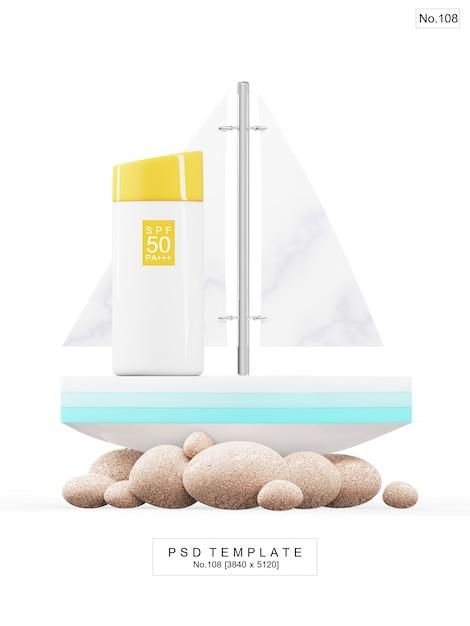 Produkt przeciwsłoneczny uv z zabawkową łodzią. renderowanie 3d Premium Psd
