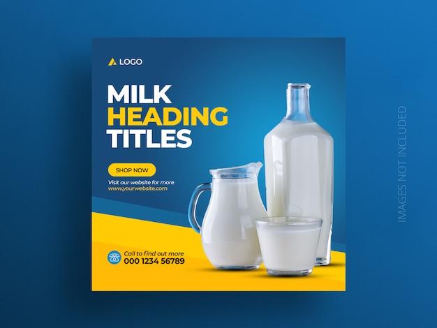 Produkt Społecznościowy Szablon Transparent Postu Lub Kwadratowa Ulotka Sprzedaży Mleka Premium Psd