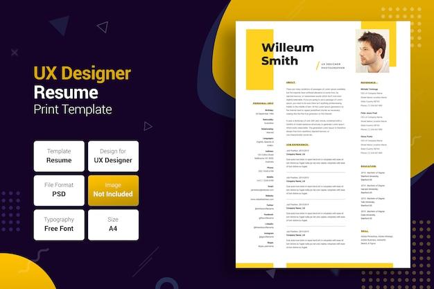 Profesjonalny szablon cv w kolorze żółtym i czarnym uxer Premium Psd