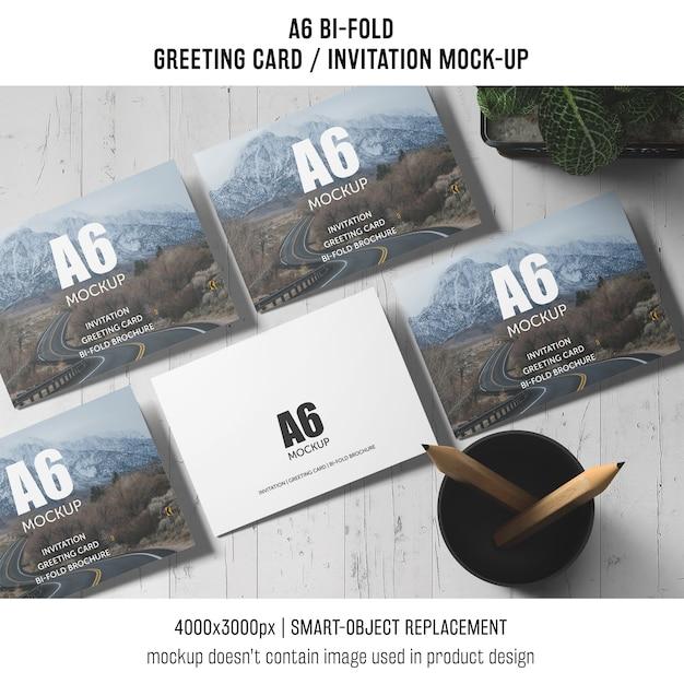 Profesjonalny szablon karty zaproszenie a6 bi-fold Darmowe Psd