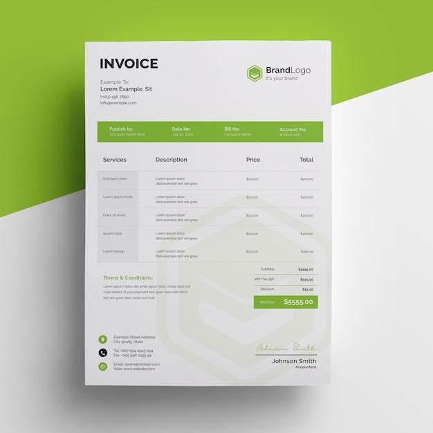 Profesjonalny Szablon Zielonej Faktury Premium Psd