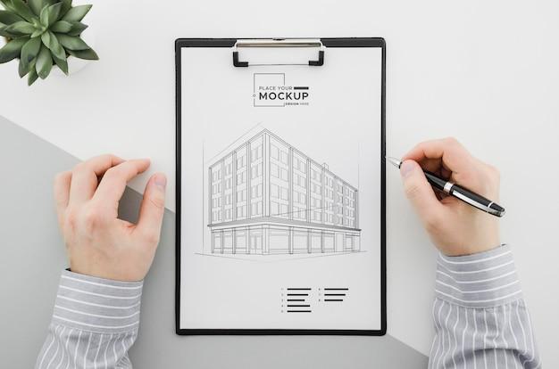 Projekt Architektury Widoku Z Góry Z Makietą Premium Psd