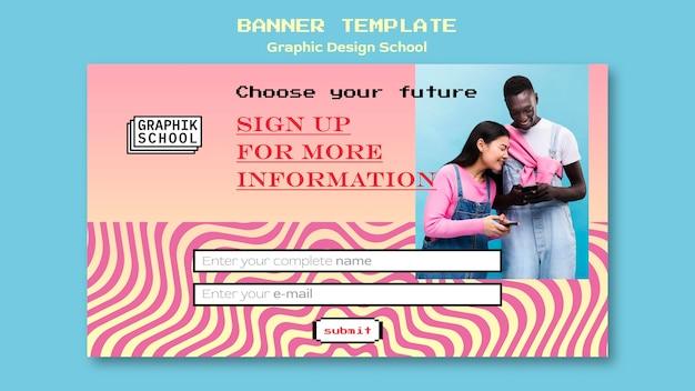 Projekt Graficzny Szablon Transparent Szkoły Ze Zdjęciem Darmowe Psd