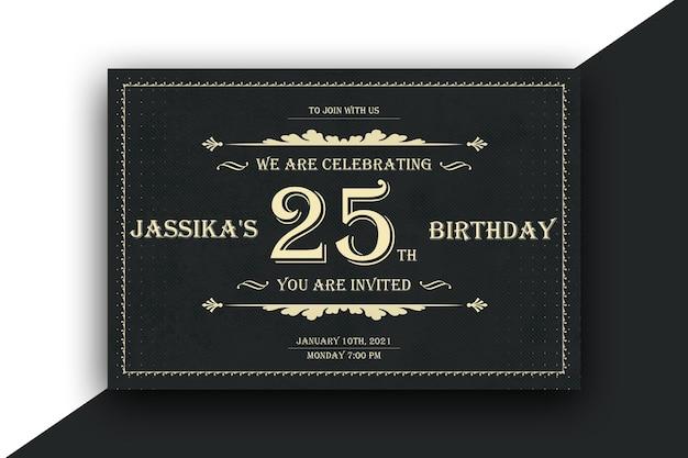 Projekt Kartki Pocztowej Zaproszenie Urodzinowe Premium Psd