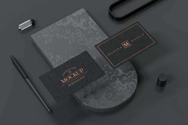 Projekt Makiety Czarnej Wizytówki W Renderowaniu 3d Premium Psd