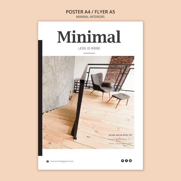Projekt Plakatu Minimalistycznego Wnętrza Darmowe Psd