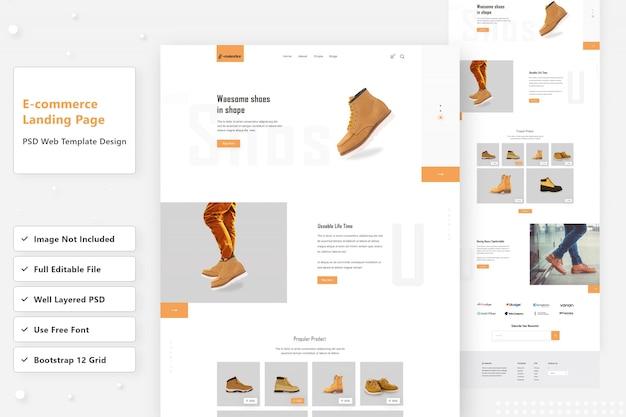 Projekt Strony Docelowej Butów E-commerce Premium Psd