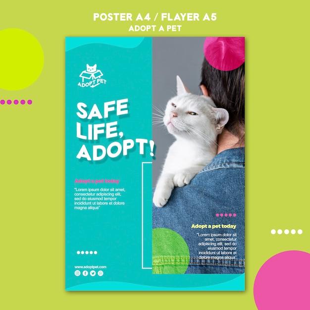 Projekt Szablonu Plakat Adopcji Zwierząt Darmowe Psd