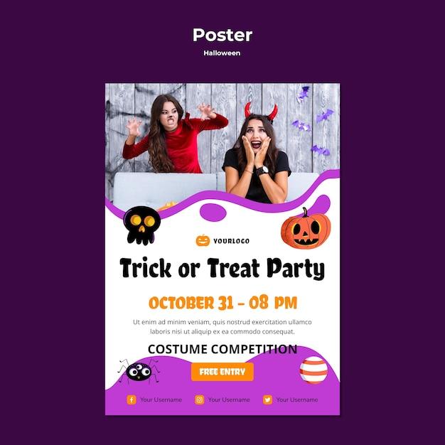 Projekt Szablonu Plakatu Party Trick Or Treat Premium Psd