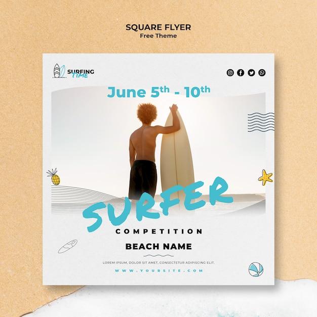 Projekt Szablonu Ulotki Surfer Darmowe Psd