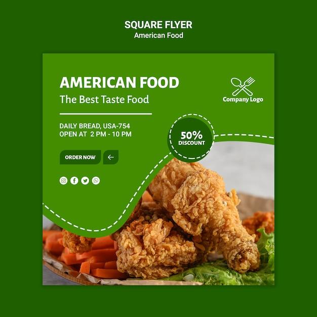 Projekt Ulotki Amerykańskie Jedzenie Kwadrat Darmowe Psd