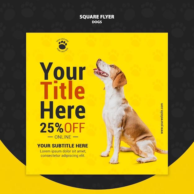 Projekt Ulotki ładny Pies Kwadrat Darmowe Psd
