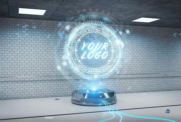 Projektor z logo w podziemnym tunelu makiety wnętrza Premium Psd
