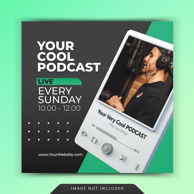 Promocja Kanału Podcastowego Dla Szablonów Artykułów W Mediach Społecznościowych Premium Psd