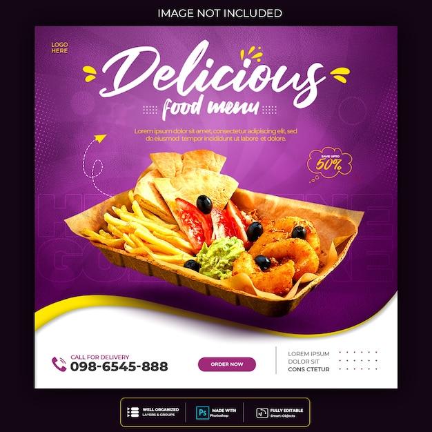 Promocja W Mediach Społecznościowych żywności I Szablon Projektu Postu Banerowego Darmowe Psd