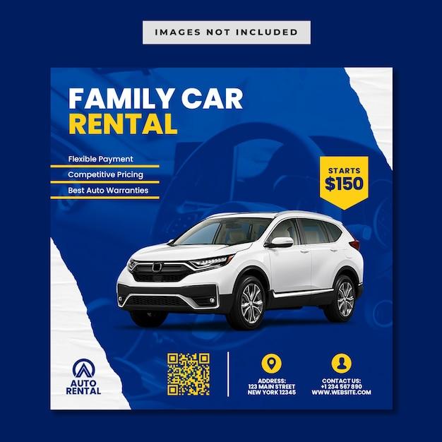 Promocja Wypożyczalni Samochodów Rodzinnych W Mediach Społecznościowych Szablon Postu Na Instagramie Premium Psd