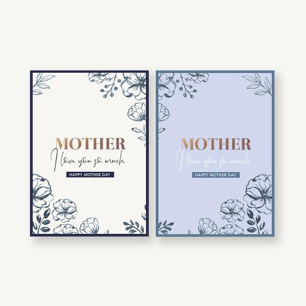 Prosta i praktyczna karta na dzień matki z ozdobnymi kwiatami Darmowe Psd