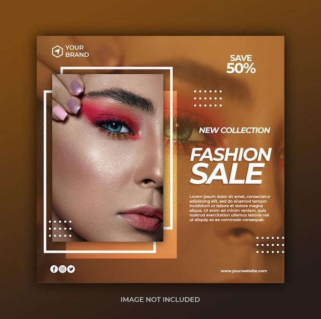 Prosty Nowoczesny Moda Sprzedaż Transparent Lub Kwadratowe Ulotki Dla Szablonu Post Mediów Społecznościowych Premium Psd