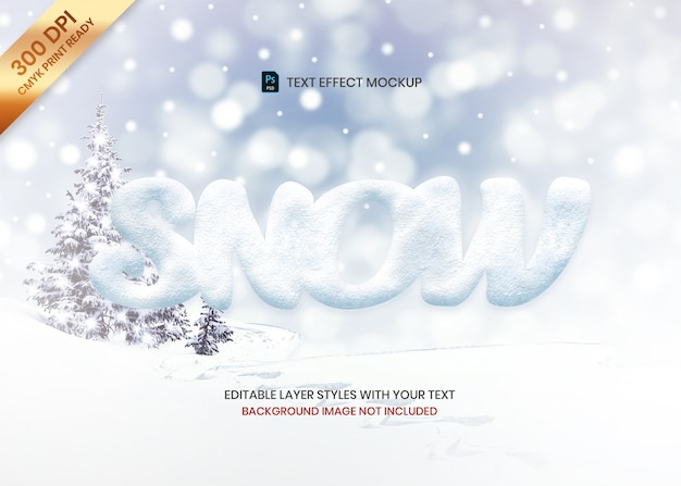 Prosty Tekstur śniegu Logo Efekt Tekstowy Szablon Premium Psd