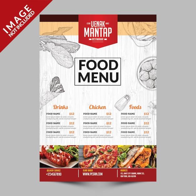 Przednia strona książki z rocznika menu żywności Premium Psd