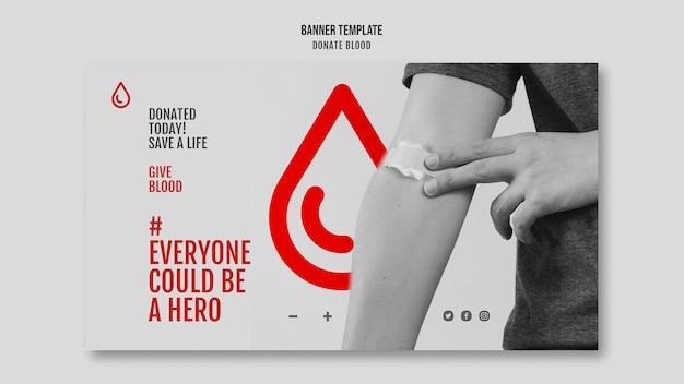 Przekaż Krew Poziomą Baner Kampanii Darmowe Psd