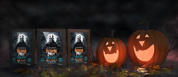 Przerażające aranżacje halloween z plakatami filmowymi Darmowe Psd