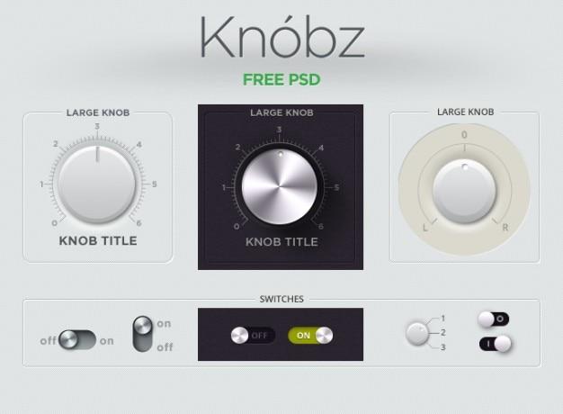 Przycisk Audio Gui Interface Kit Gałka Knobz Suwak Przełącznika Ui Ui Kit Darmowe Psd