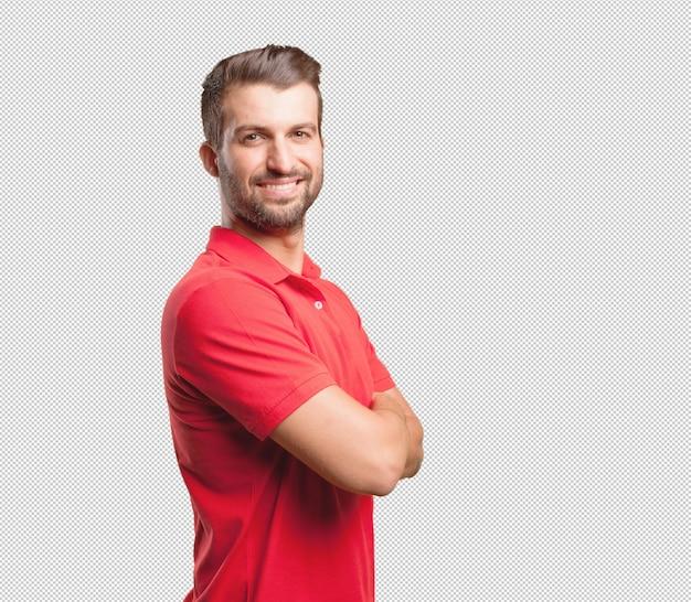 Przyjazny Człowiek W Czerwonej Koszuli Premium Psd