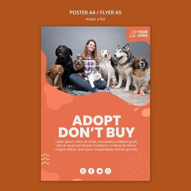 Przyjmij Projekt Szablonu Plakatu Dla Zwierząt Domowych Darmowe Psd