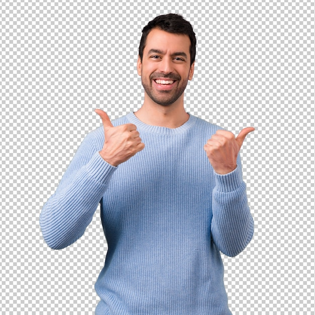 Przystojny Mężczyzna Daje Aprobata Gestowi I Uśmiechniętemu Premium Psd