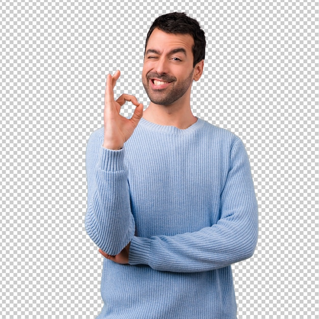 Przystojny Mężczyzna Pokazuje Ok Znaka Z Palcami Premium Psd