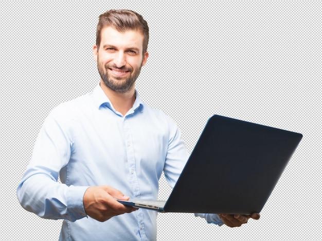 Przystojny Młody Człowiek Z Laptopem Premium Psd