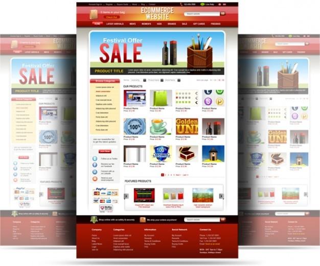 Psd strona szablon e-commerce Darmowe Psd