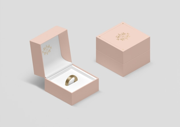 Pudełko Na Biżuterię O Wysokim Kącie Ze Złotą Obrączką Darmowe Psd